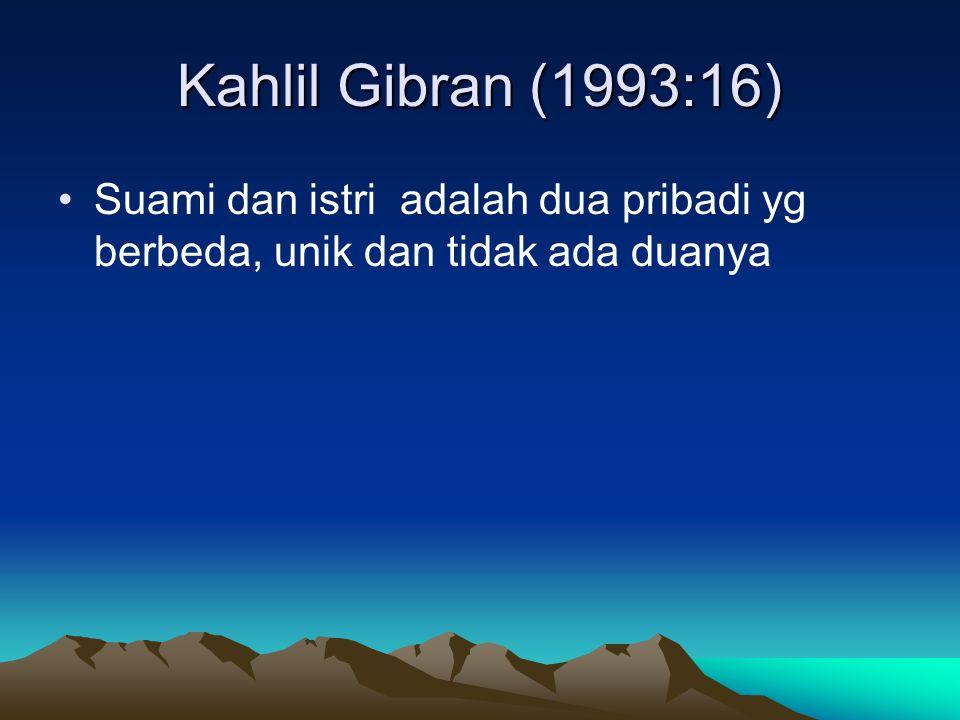 Kahlil Gibran (1993:16) Suami dan istri adalah dua pribadi yg berbeda, unik dan tidak ada duanya