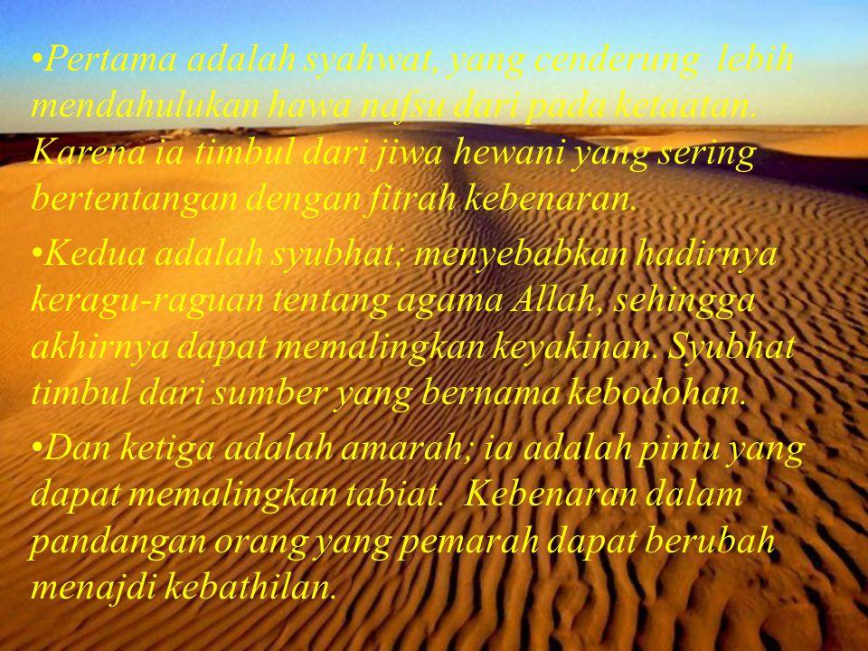 Pertama adalah syahwat, yang cenderung lebih mendahulukan hawa nafsu dari pada ketaatan. Karena ia timbul dari jiwa hewani yang sering bertentangan dengan fitrah kebenaran.