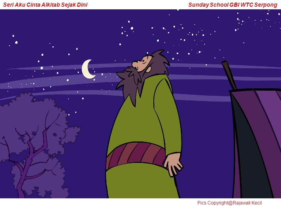 Malamnya Ketika Abram berdiri di luar kemahnya dan memandang langit.
