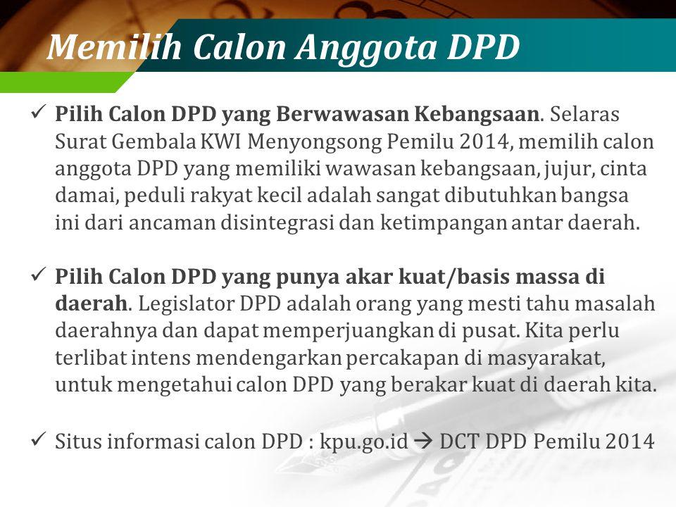 Memilih Calon Anggota DPD