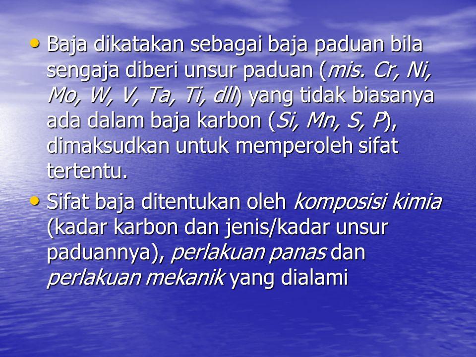 Baja dikatakan sebagai baja paduan bila sengaja diberi unsur paduan (mis. Cr, Ni, Mo, W, V, Ta, Ti, dll) yang tidak biasanya ada dalam baja karbon (Si, Mn, S, P), dimaksudkan untuk memperoleh sifat tertentu.