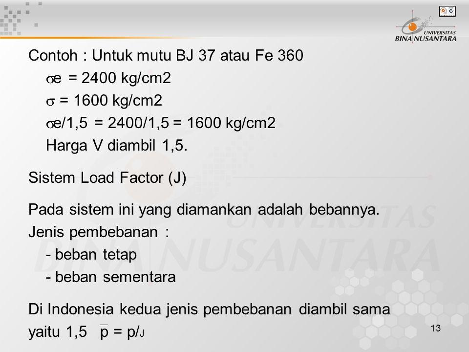 Contoh : Untuk mutu BJ 37 atau Fe 360 e = 2400 kg/cm2  = 1600 kg/cm2 e/1,5 = 2400/1,5 = 1600 kg/cm2 Harga V diambil 1,5.
