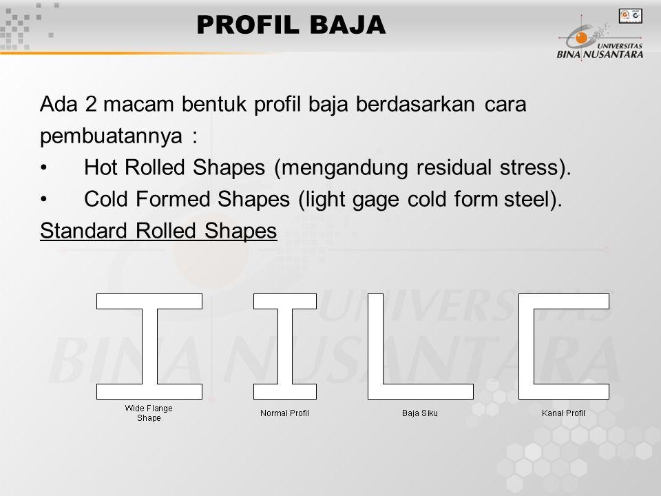 PROFIL BAJA Ada 2 macam bentuk profil baja berdasarkan cara