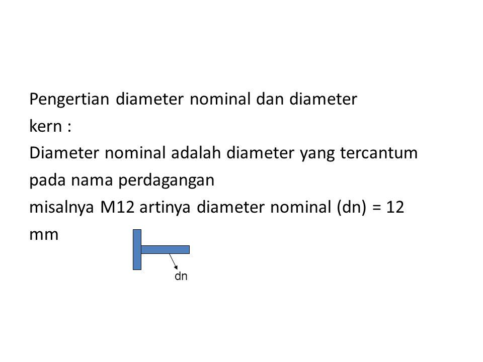 Pengertian diameter nominal dan diameter kern : Diameter nominal adalah diameter yang tercantum pada nama perdagangan misalnya M12 artinya diameter nominal (dn) = 12 mm