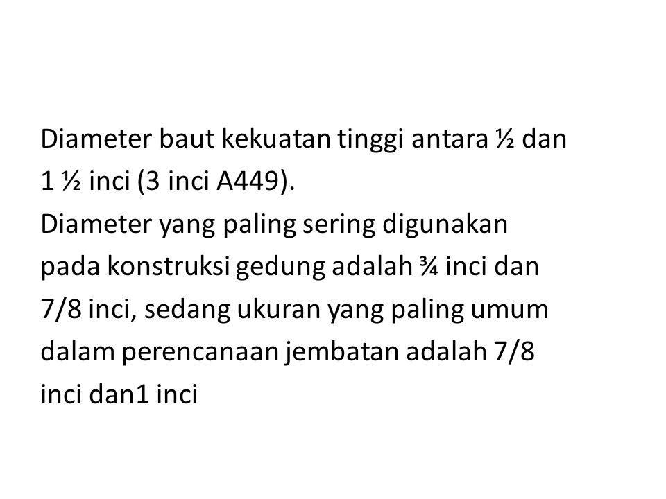 Diameter baut kekuatan tinggi antara ½ dan 1 ½ inci (3 inci A449)