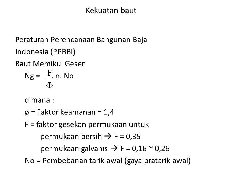 Kekuatan baut Peraturan Perencanaan Bangunan Baja Indonesia (PPBBI)