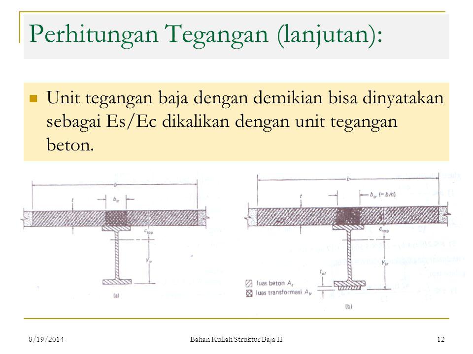 Perhitungan Tegangan (lanjutan):