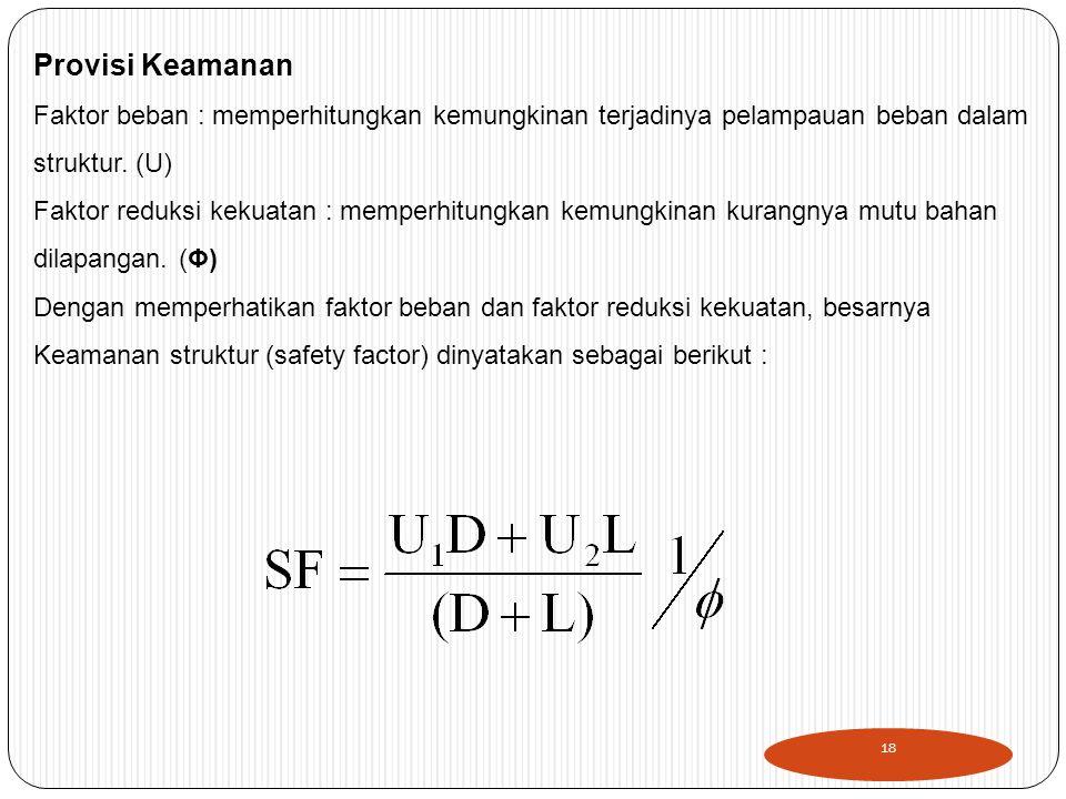Provisi Keamanan Faktor beban : memperhitungkan kemungkinan terjadinya pelampauan beban dalam. struktur. (U)
