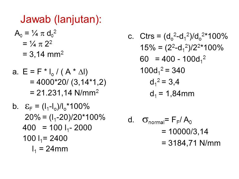 Jawab (lanjutan): A0 = ¼ p d02 = ¼ p 22 = 3,14 mm2
