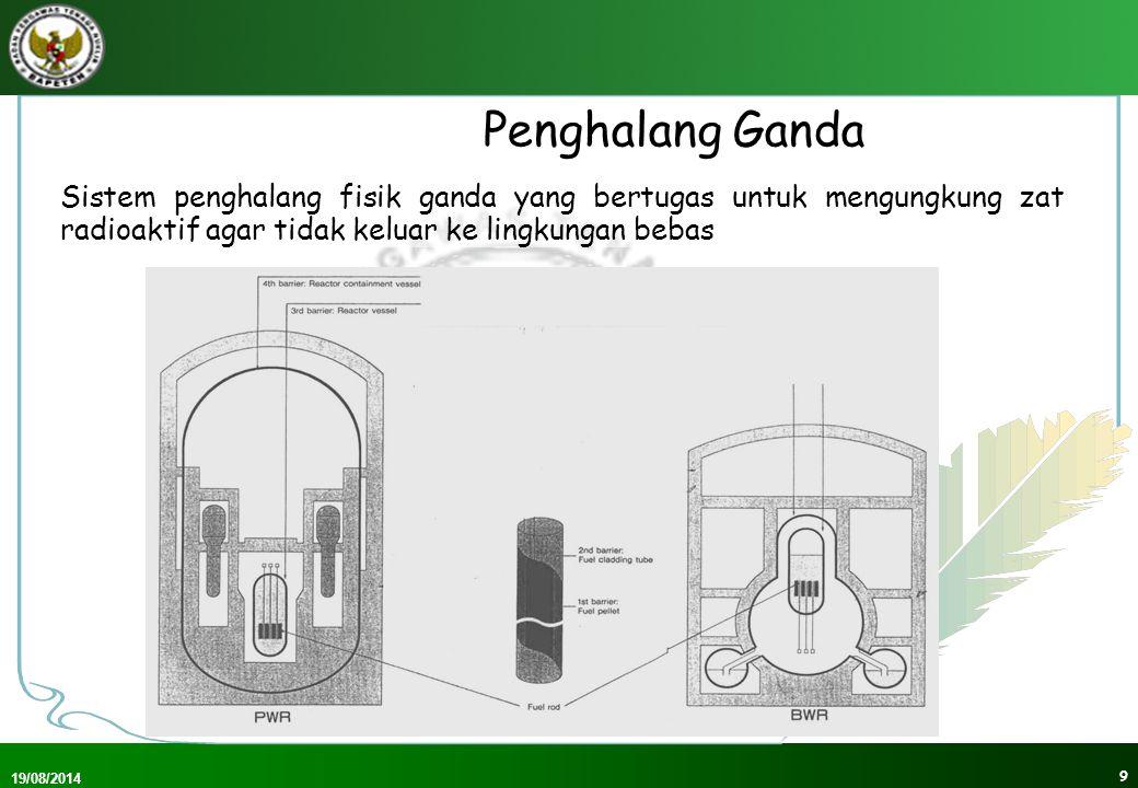 Penghalang Ganda Sistem penghalang fisik ganda yang bertugas untuk mengungkung zat radioaktif agar tidak keluar ke lingkungan bebas.