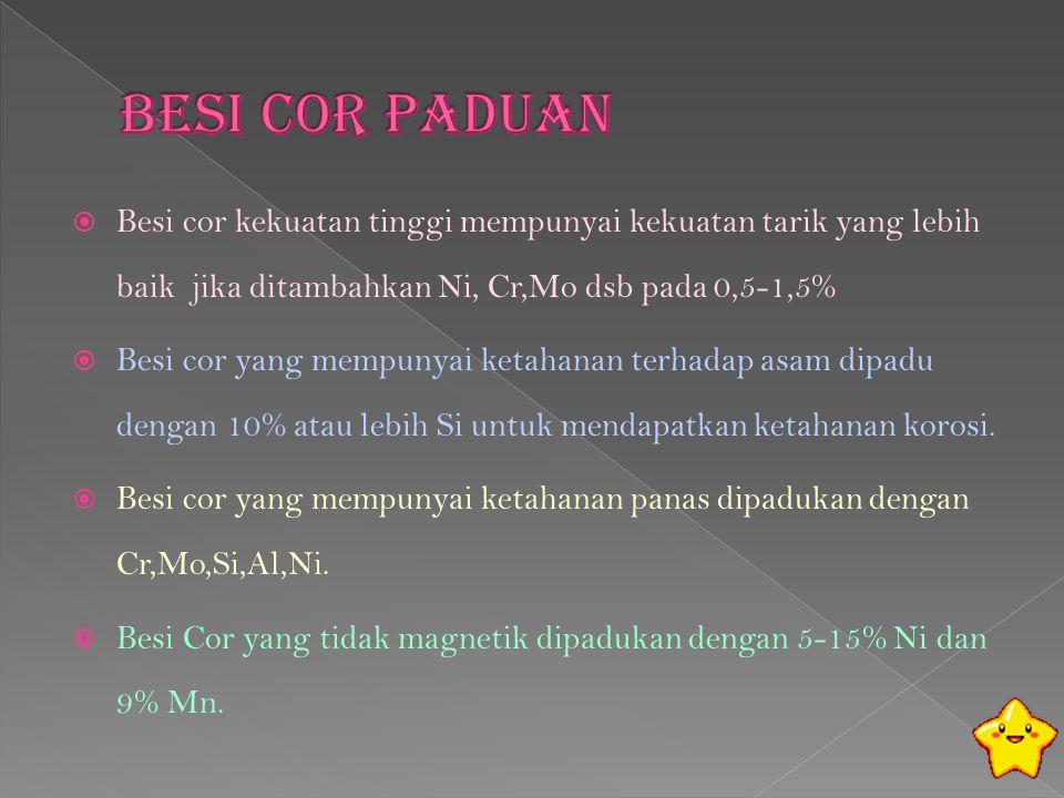 Besi Cor Paduan Besi cor kekuatan tinggi mempunyai kekuatan tarik yang lebih baik jika ditambahkan Ni, Cr,Mo dsb pada 0,5-1,5%