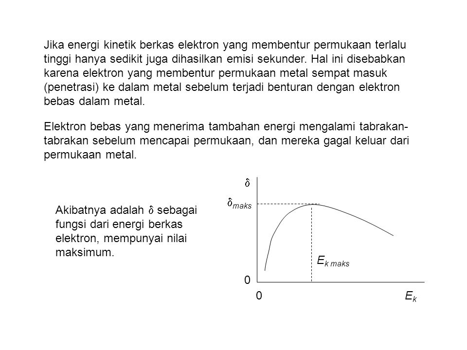 Jika energi kinetik berkas elektron yang membentur permukaan terlalu tinggi hanya sedikit juga dihasilkan emisi sekunder. Hal ini disebabkan karena elektron yang membentur permukaan metal sempat masuk (penetrasi) ke dalam metal sebelum terjadi benturan dengan elektron bebas dalam metal.
