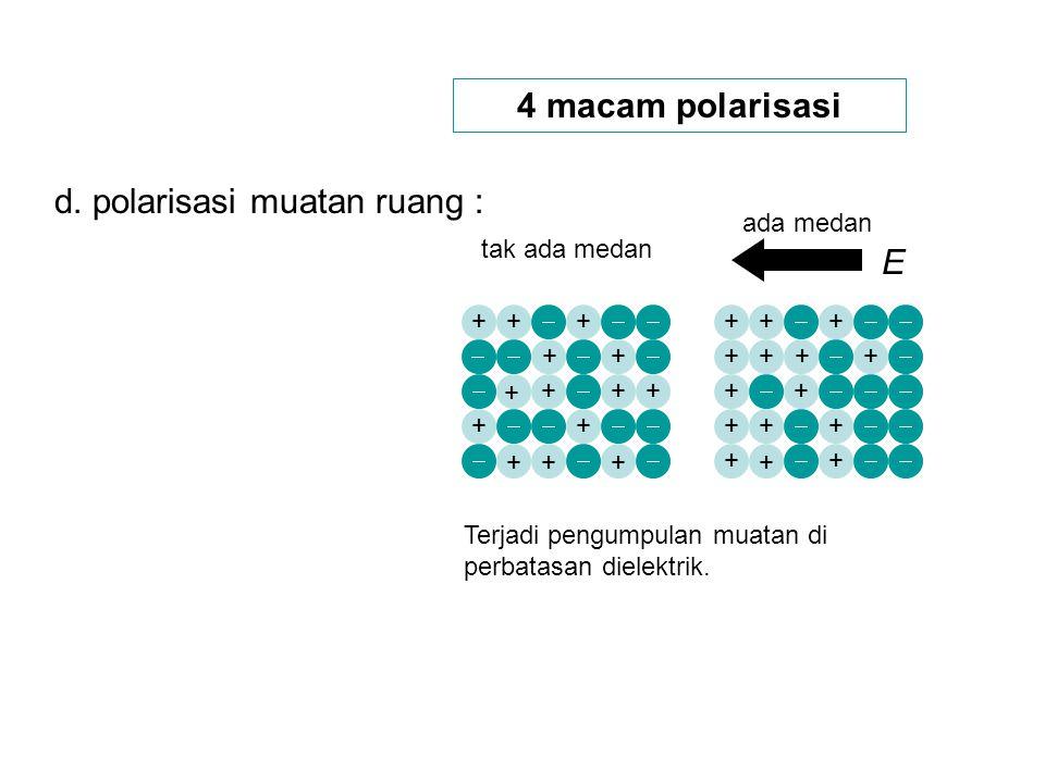 d. polarisasi muatan ruang :