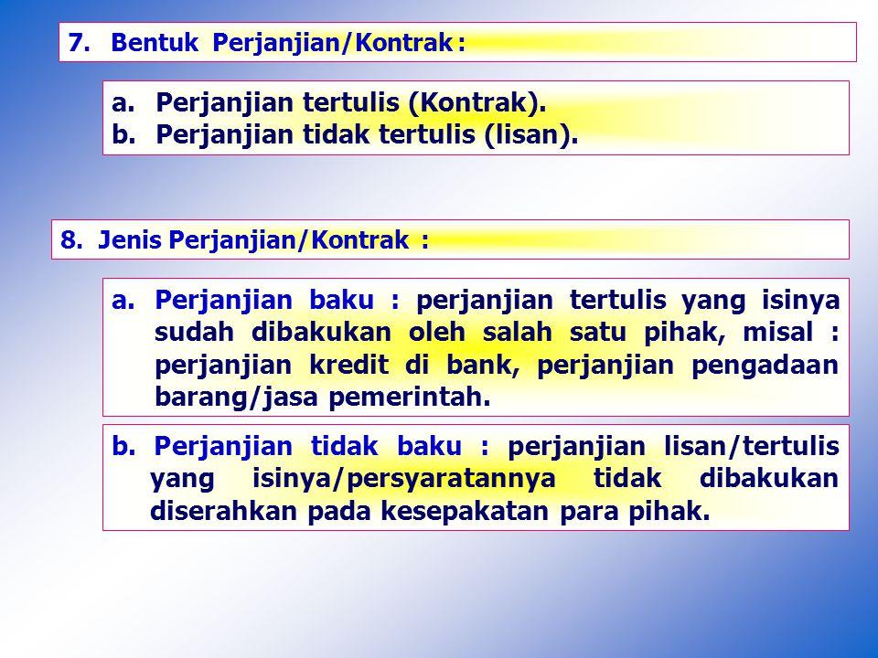 a. Perjanjian tertulis (Kontrak).