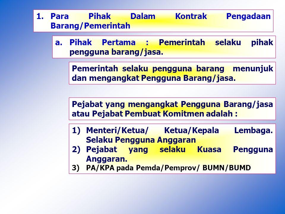 1. Para Pihak Dalam Kontrak Pengadaan Barang/Pemerintah