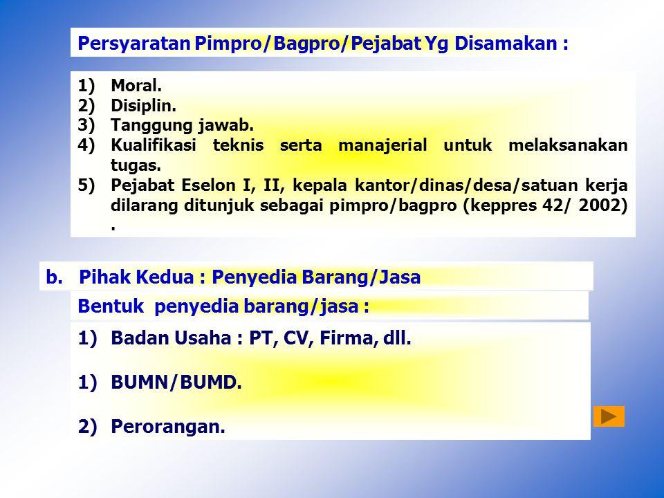 Persyaratan Pimpro/Bagpro/Pejabat Yg Disamakan :
