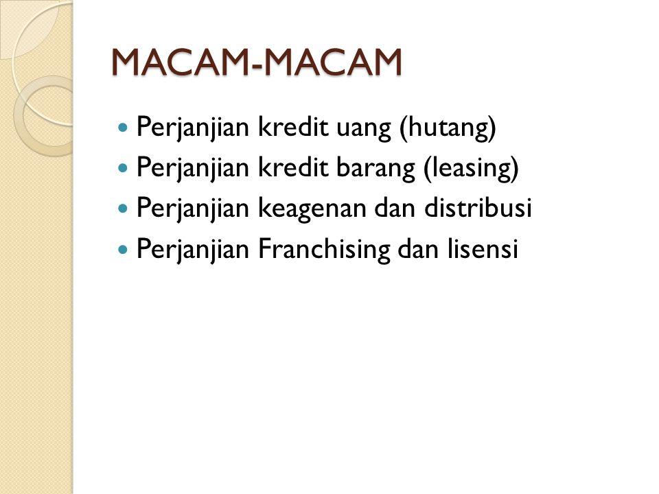 MACAM-MACAM Perjanjian kredit uang (hutang)