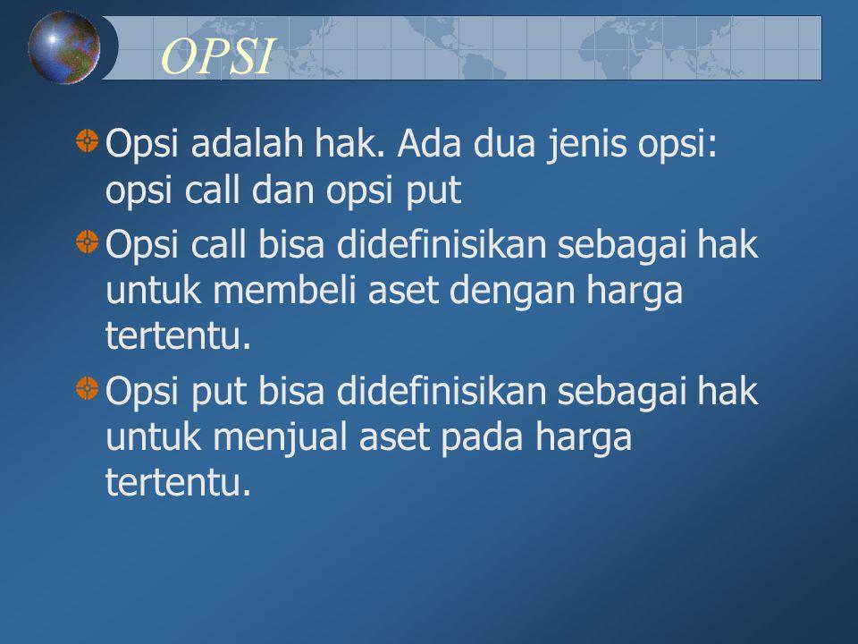 OPSI Opsi adalah hak. Ada dua jenis opsi: opsi call dan opsi put