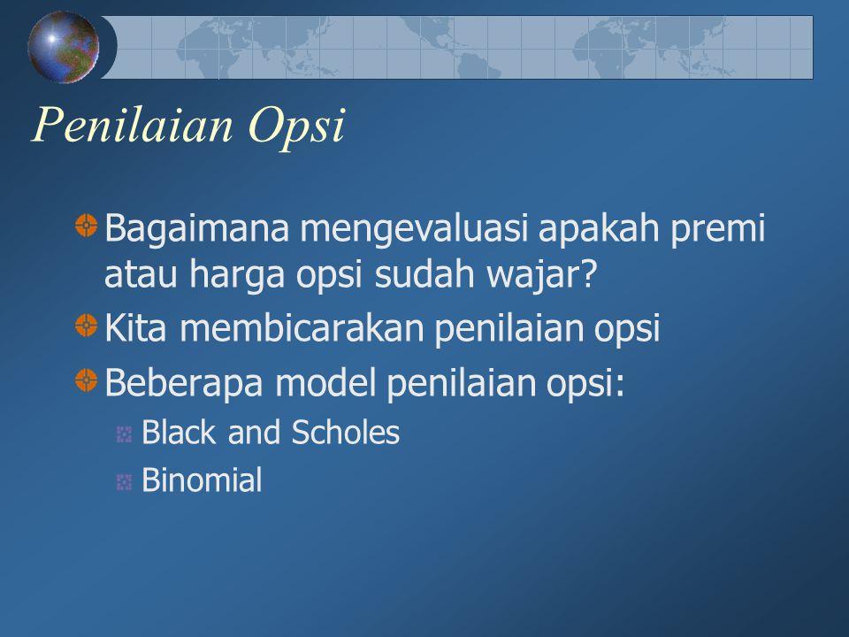 Penilaian Opsi Bagaimana mengevaluasi apakah premi atau harga opsi sudah wajar Kita membicarakan penilaian opsi.