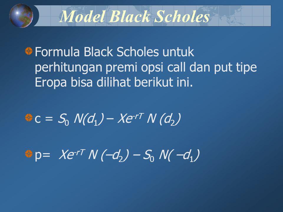 Model Black Scholes Formula Black Scholes untuk perhitungan premi opsi call dan put tipe Eropa bisa dilihat berikut ini.