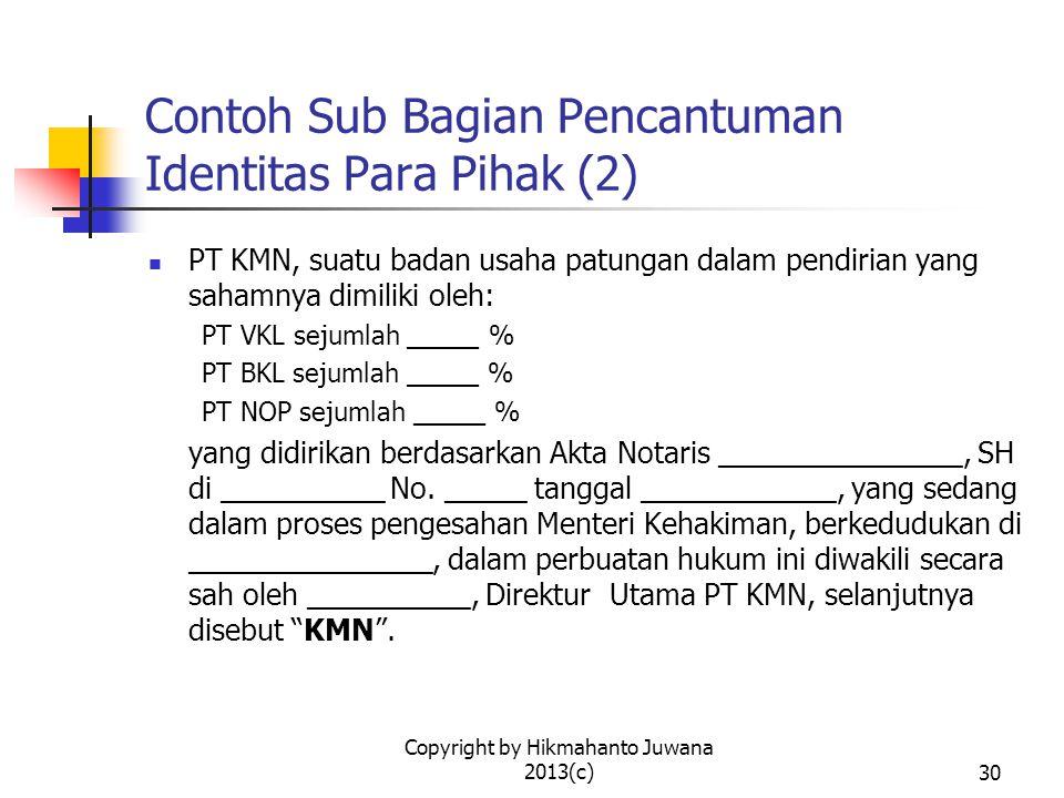 Contoh Sub Bagian Pencantuman Identitas Para Pihak (2)
