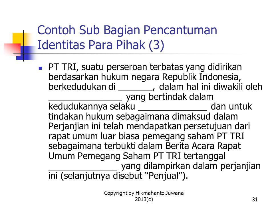 Contoh Sub Bagian Pencantuman Identitas Para Pihak (3)
