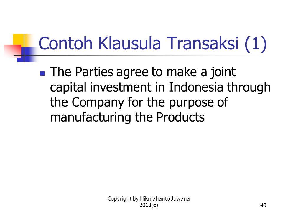 Contoh Klausula Transaksi (1)