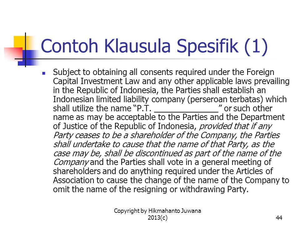 Contoh Klausula Spesifik (1)