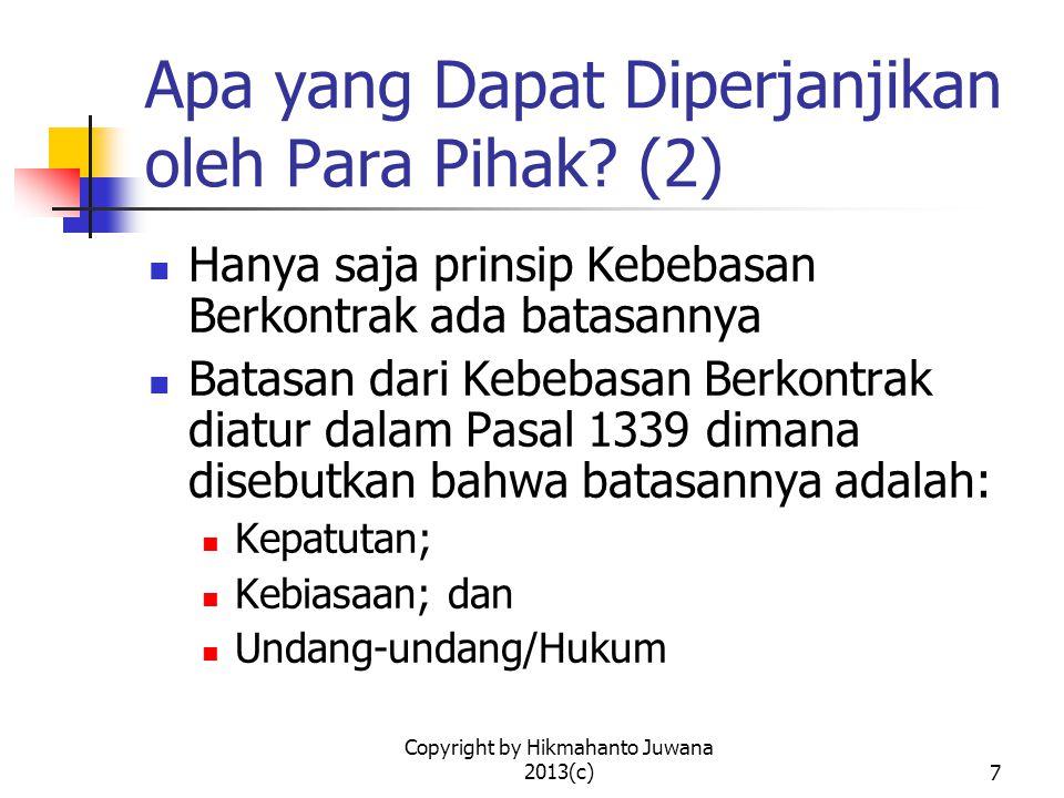 Apa yang Dapat Diperjanjikan oleh Para Pihak (2)
