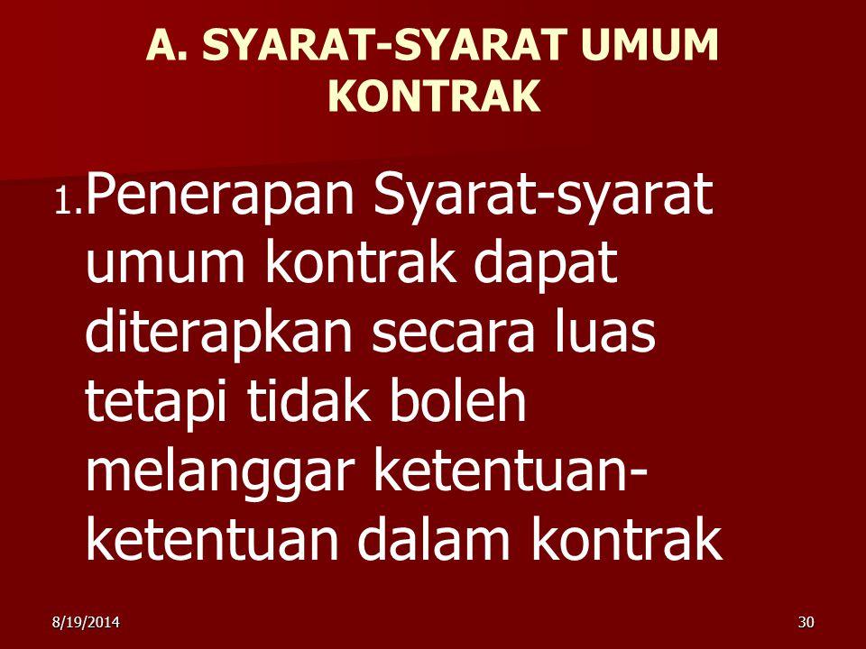 A. SYARAT-SYARAT UMUM KONTRAK