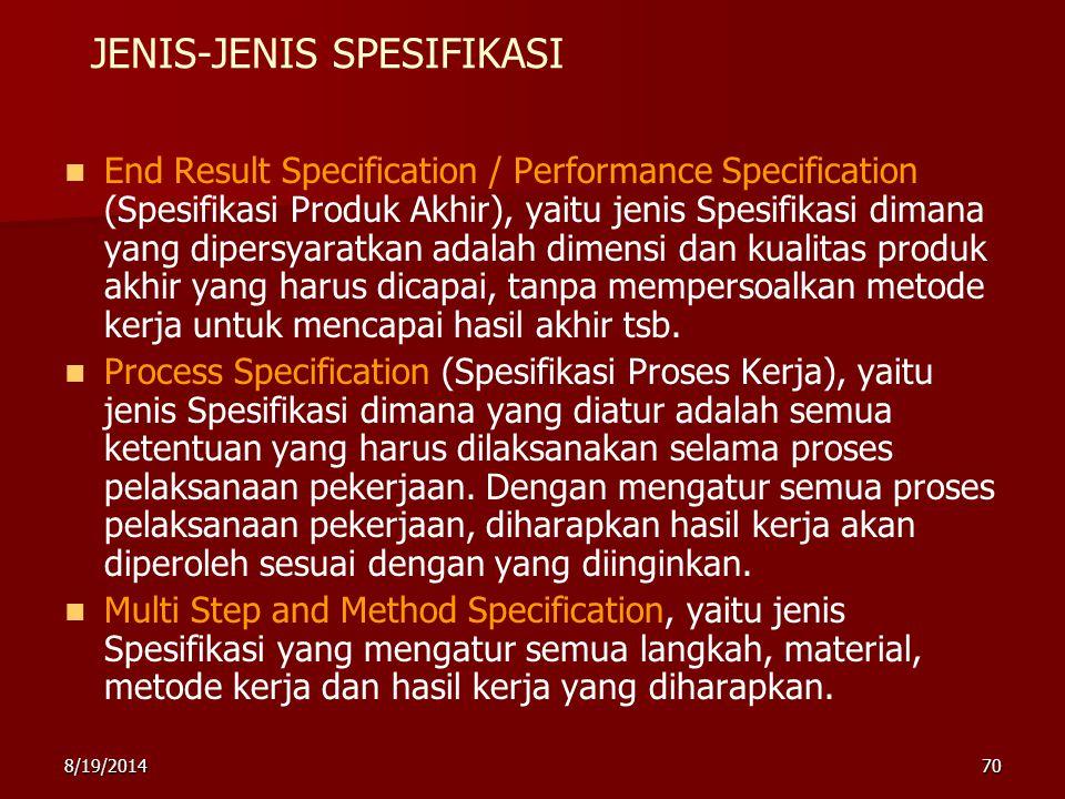 JENIS-JENIS SPESIFIKASI