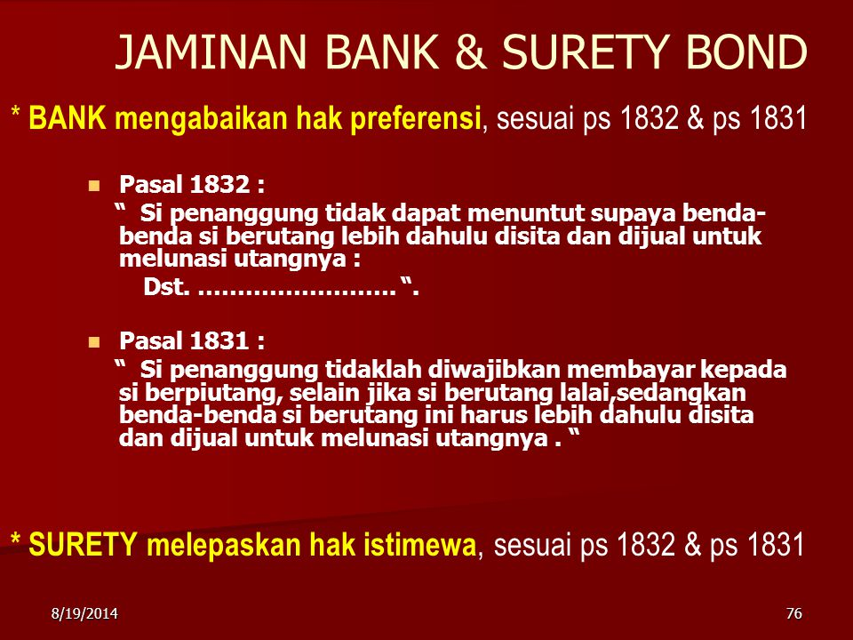 JAMINAN BANK & SURETY BOND