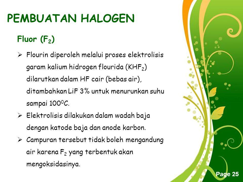 PEMBUATAN HALOGEN Fluor (F2)