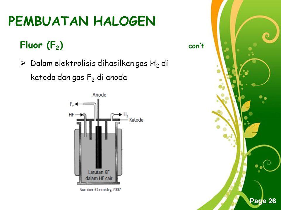 PEMBUATAN HALOGEN Fluor (F2) con't