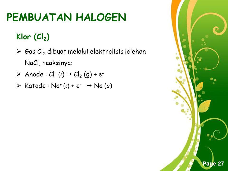 PEMBUATAN HALOGEN Klor (Cl2)