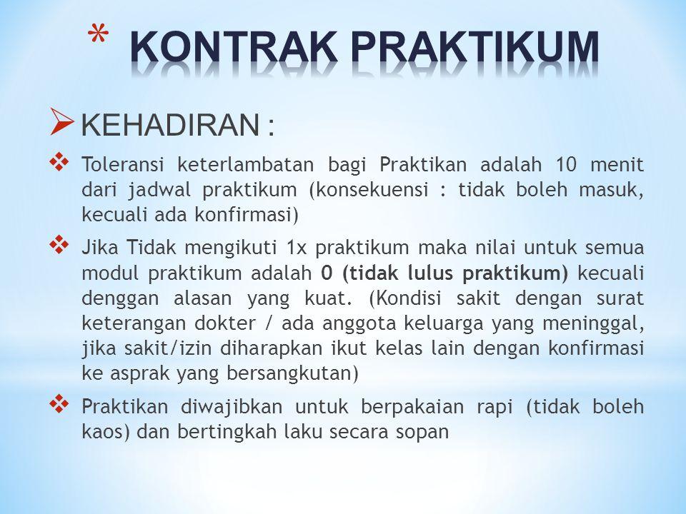 KONTRAK PRAKTIKUM KEHADIRAN :