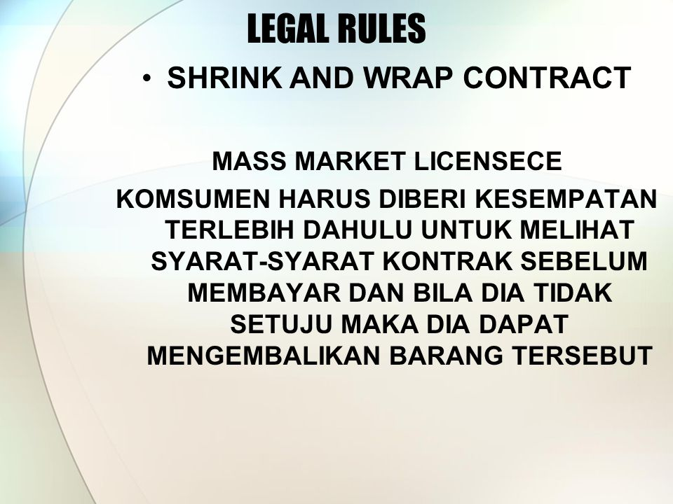 SHRINK AND WRAP CONTRACT
