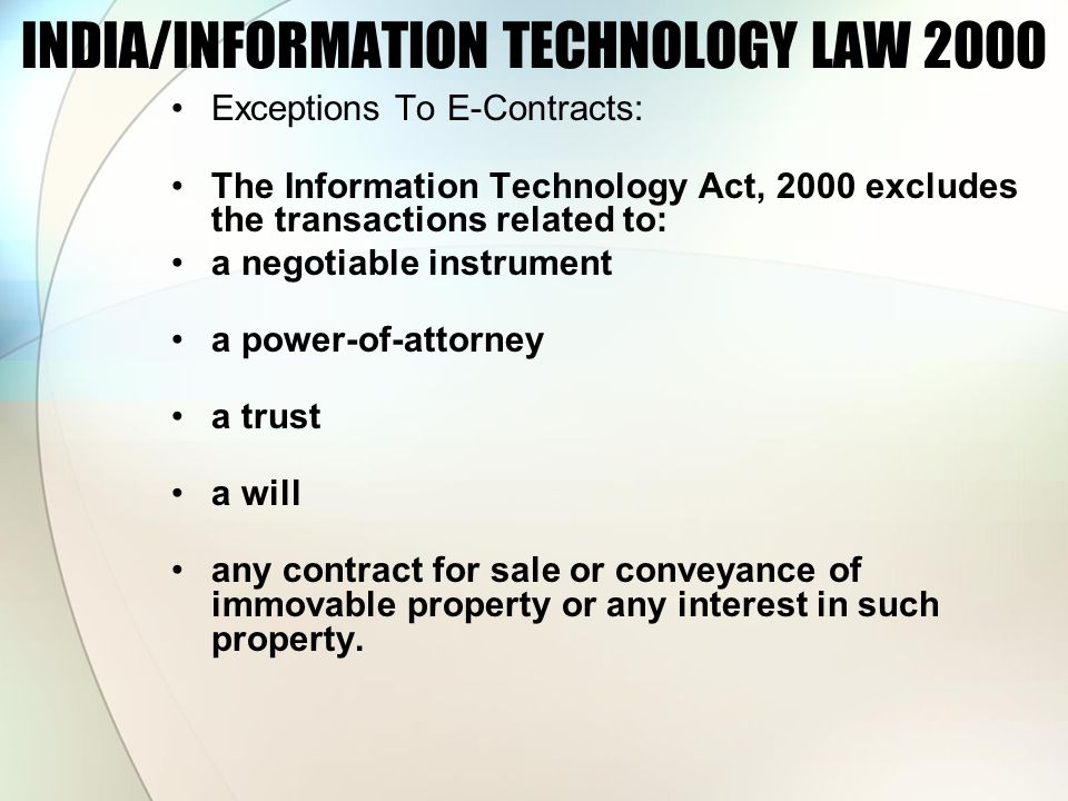 INDIA/INFORMATION TECHNOLOGY LAW 2000