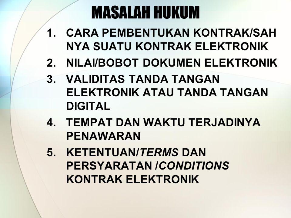 MASALAH HUKUM CARA PEMBENTUKAN KONTRAK/SAH NYA SUATU KONTRAK ELEKTRONIK. NILAI/BOBOT DOKUMEN ELEKTRONIK.