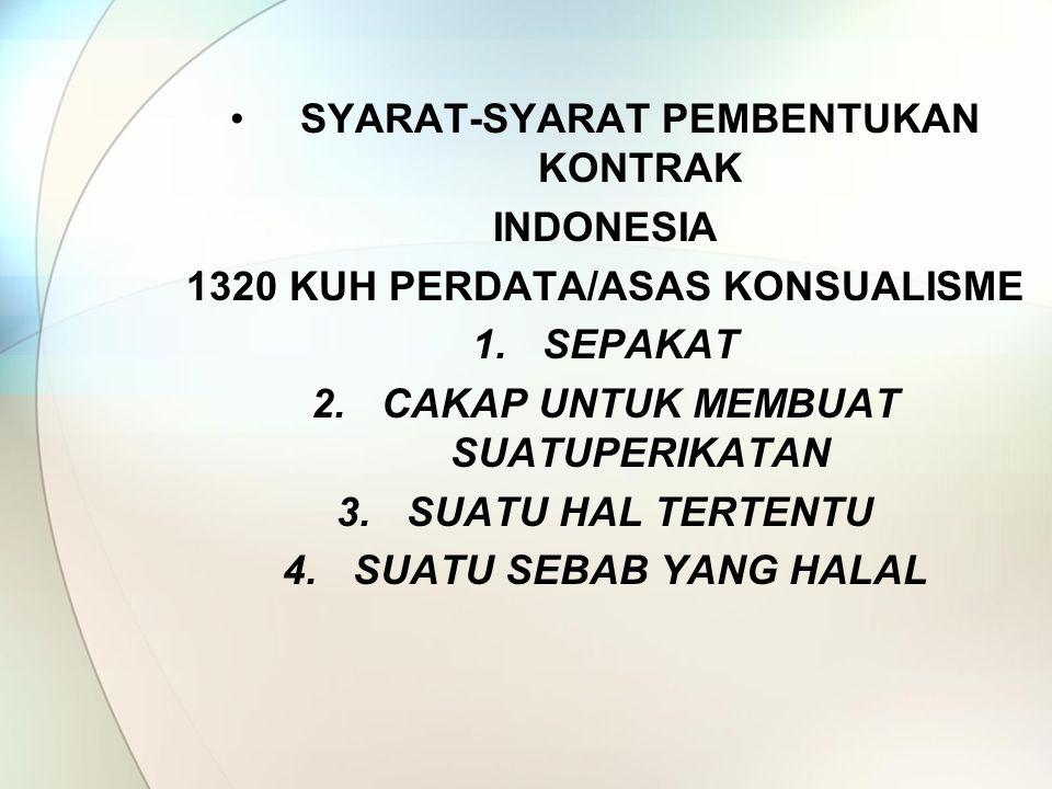 SYARAT-SYARAT PEMBENTUKAN KONTRAK INDONESIA
