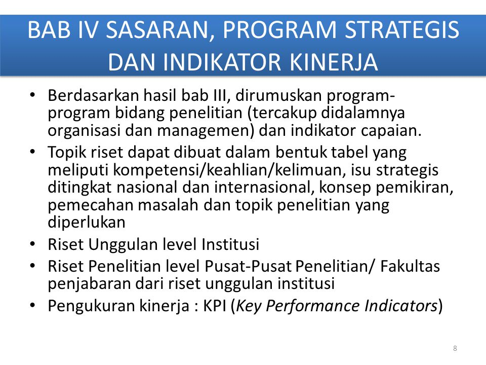 BAB IV SASARAN, PROGRAM STRATEGIS DAN INDIKATOR KINERJA