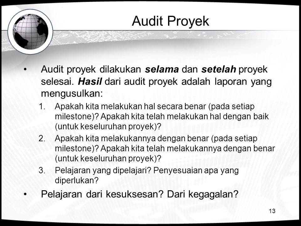Audit Proyek Audit proyek dilakukan selama dan setelah proyek selesai. Hasil dari audit proyek adalah laporan yang mengusulkan:
