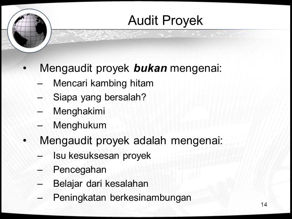 Audit Proyek Mengaudit proyek bukan mengenai: