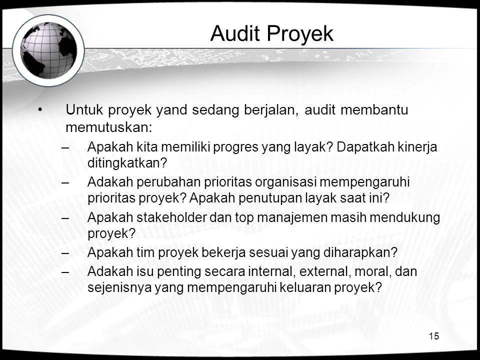 Audit Proyek Untuk proyek yand sedang berjalan, audit membantu memutuskan: Apakah kita memiliki progres yang layak Dapatkah kinerja ditingkatkan