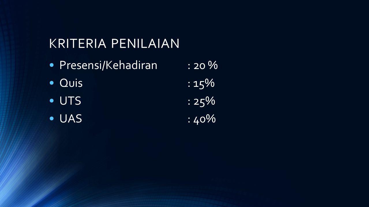 KRITERIA PENILAIAN Presensi/Kehadiran : 20 % Quis : 15% UTS : 25%