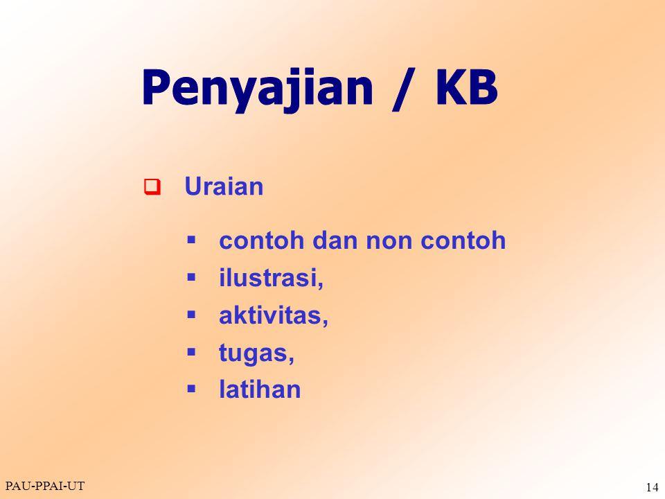 Penyajian / KB contoh dan non contoh ilustrasi, aktivitas, tugas,