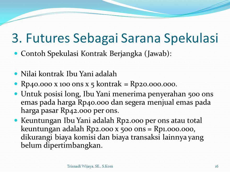3. Futures Sebagai Sarana Spekulasi