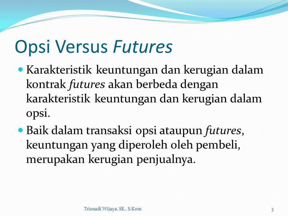 Opsi Versus Futures Karakteristik keuntungan dan kerugian dalam kontrak futures akan berbeda dengan karakteristik keuntungan dan kerugian dalam opsi.