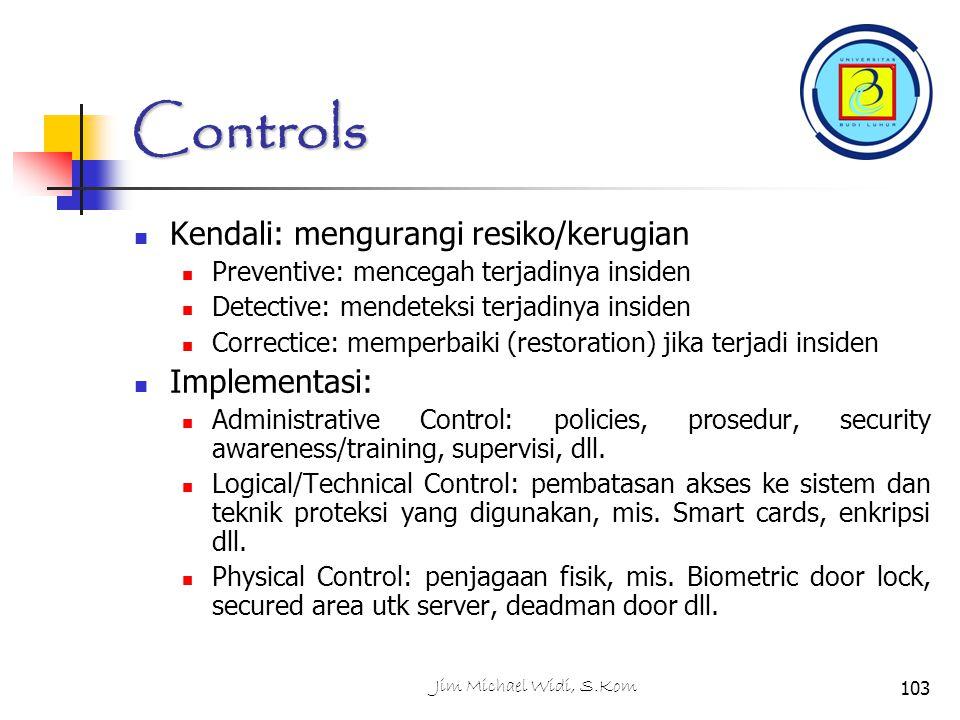 Controls Kendali: mengurangi resiko/kerugian Implementasi: