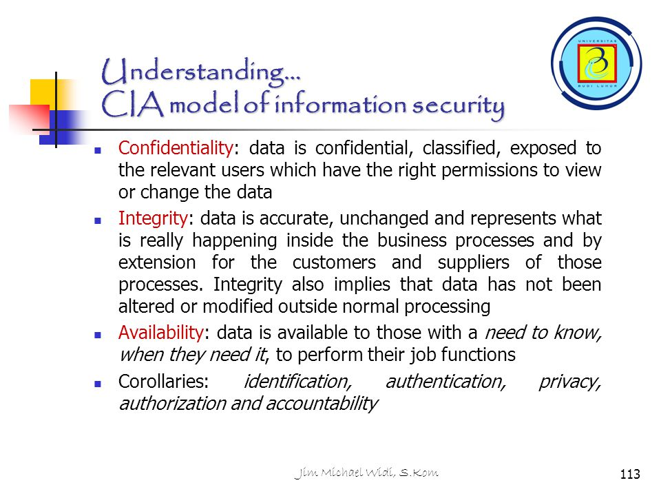 Understanding… CIA model of information security